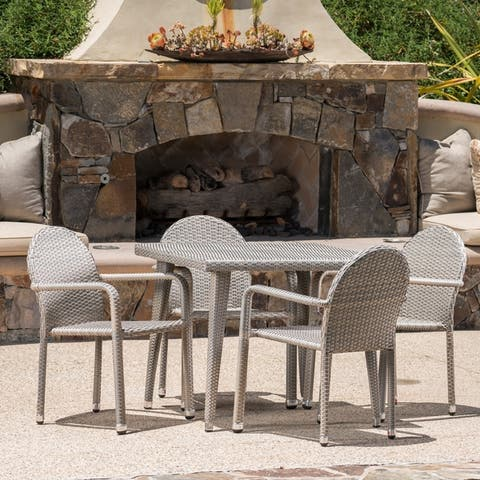 Astor Outdoor 5-piece Square Aluminum Wicker Dining Set by Christopher Knight Home