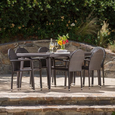 Astor Outdoor 7-piece Rectangular Aluminum Wicker Dining Set by Christopher Knight Home