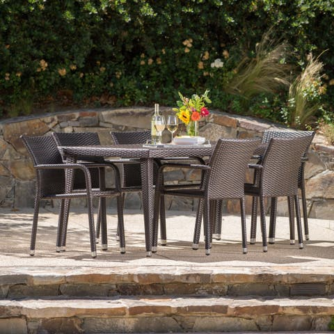 Rutledge Outdoor 7-piece Rectangular Aluminum Wicker Dining Set by Christopher Knight Home