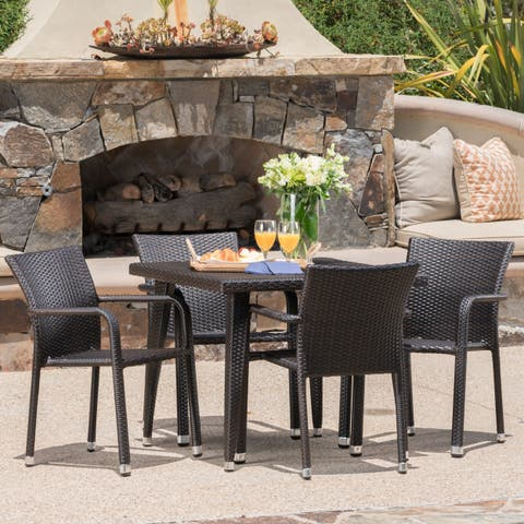 Rutledge Outdoor 5-piece Square Aluminum Wicker Dining Set by Christopher Knight Home