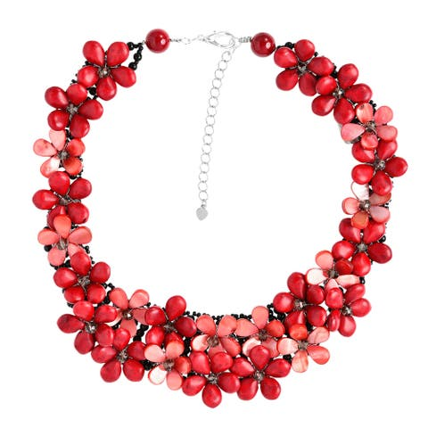 Handmade Love Red Daisy Floral Cluster Coral Statement Necklace (Thailand)