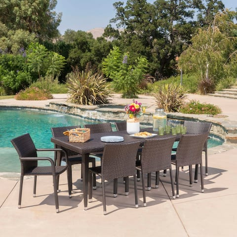 Dover Outdoor 9-piece Rectangular Aluminum Wicker Dining Set by Christopher Knight Home