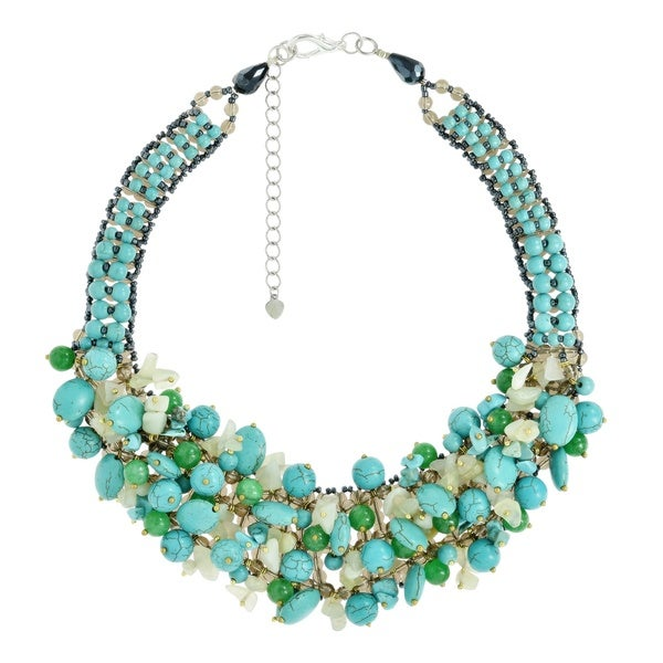 Eternal Passion Clustered Green Stone and Turquoise Statement Necklace (Thailand)