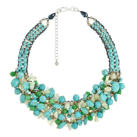 Handmade Eternal Passion Clustered Green Stone and Turquoise Statement Necklace (Thailand)