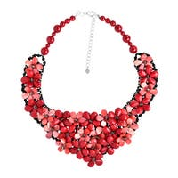 Handmade Red Coral Daisy Blossom Statement Bib Necklace (Thailand)