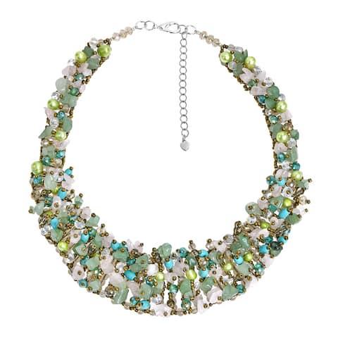 Handmade Dazzling Green Tone Mix Stone Bib Statement Necklace (Thailand)
