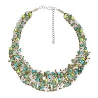 Handmade Dazzling Green Tone Mix Stone Bib Statement Necklace (Thailand)