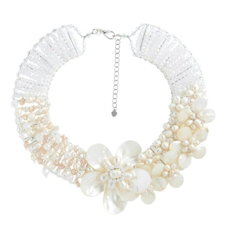 Lightening Romance Mother of Pearl and Pearl Handmade Necklace (Thailand)