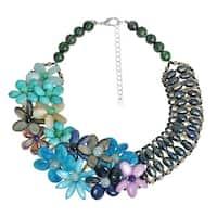 Luscious Garland Blue Shade Mix Stones Statement Necklace (Thailand)