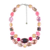Twinkle Crystals Mix Stones Pink Statement Necklace (Thailand)