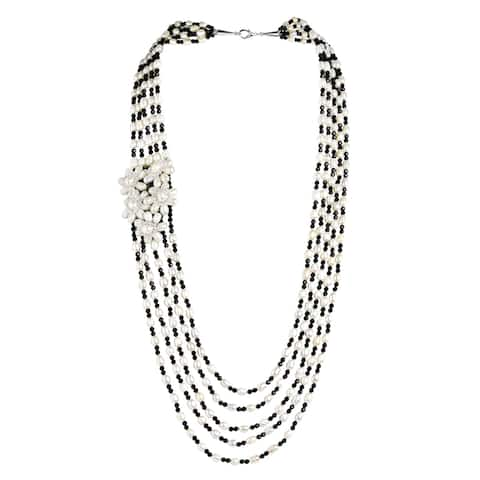 Handmade Luscious White Pearl Black Crystal and Pearl Long Layered Statement Necklace (Thailand)