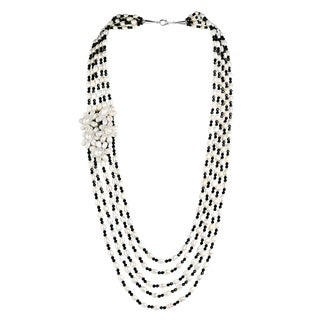 Luscious White Pearl Black Crystal and Pearl Long Layered Statement Necklace (Thailand)