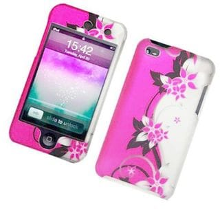 Insten Hot Pink/Silver Vines Hard Snap-on Case Cover For Apple iPod Touch 4th Gen