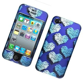 Insten Blue Hearts Hard Snap-on Case Cover For Apple iPhone 4/4S