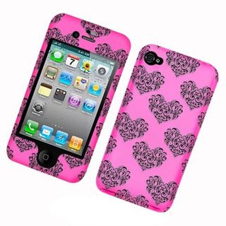 Insten Hot Pink/Black Hearts Hard Snap-on Case Cover For Apple iPhone 4/4S