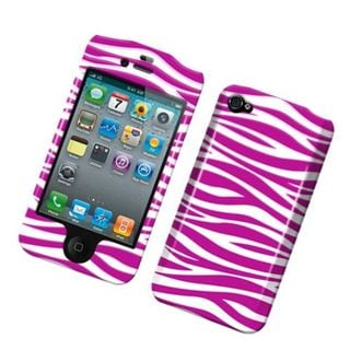 Insten Hot Pink/White Zebra Hard Snap-on Rubberized Matte Case Cover For Apple iPhone 4/4S