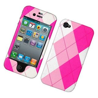 Insten Pink/White Argyle Hard Snap-on Case Cover For Apple iPhone 4/4S