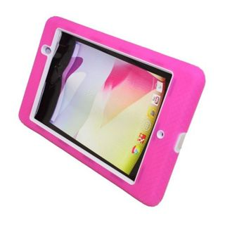 Insten Pink/White Soft Silicone/ PC Dual Layer Hybrid Rubber Case Cover with Stand For ASUS Google Nexus 7 (2013)