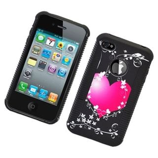 Insten Black/Hot Pink Heart Hard Snap-on Dual Layer Hybrid Case Cover For Apple iPhone 4/4S