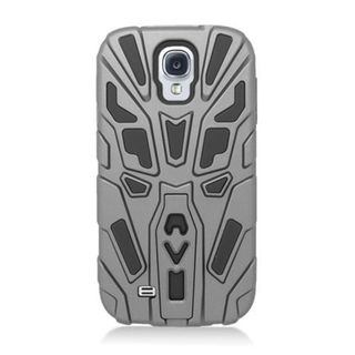 Insten Grey/Black Silicone Skin Gel Dual Layer Hybrid Rubber Case Cover with Stand For Samsung Galaxy S4 GT-i9500