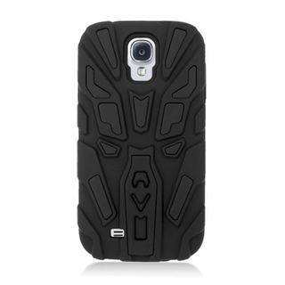 Insten Black Silicone Skin Gel Dual Layer Hybrid Rubber Case Cover with Stand For Samsung Galaxy S4 GT-i9500
