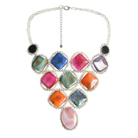 Handmade Modern Geometry Multicolor Agate Stone Statement Bib Necklace (Thailand)