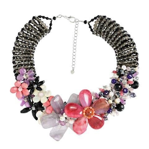 Handmade Mesmerizng Pink Purple Floral Garden Statement Necklace (Thailand)