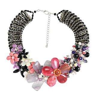 Handmade Mesmerizng Pink Purple Floral Garden Statement Necklace Thailand