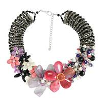 Handmade Mesmerizng Pink Purple Floral Garden Statement Necklace (Thailand)