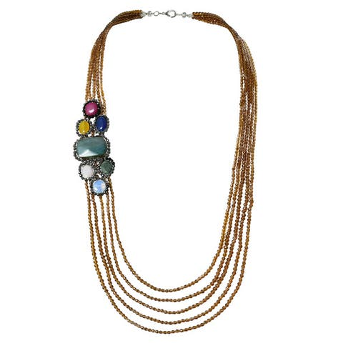 Handmade Tropical Agate Five Layers Long Multi Strand Statement Necklace (Thailand)