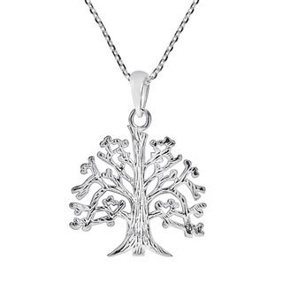 Strong Roots Satin Tree Of Life .925 Silver Necklace (Thailand)