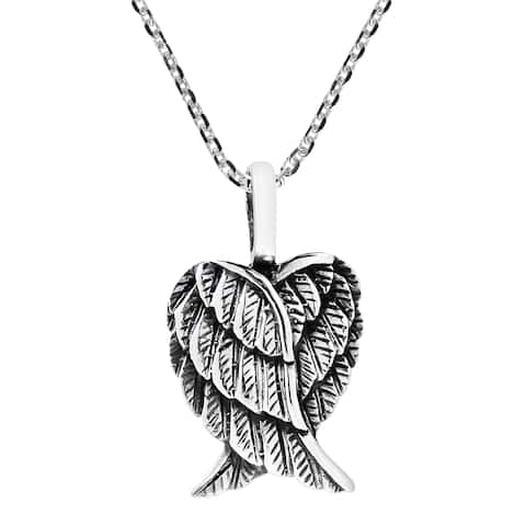 Handmade Delightful Heart Shaped Angel Wings Sterling Silver Necklace (Thailand)