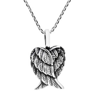 Delightful Heart Shaped Angel Wings Sterling Silver Necklace (Thailand)