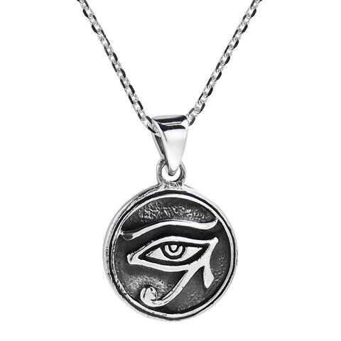 Handmade Circle Eye of Horus Egyptian Symbol .925 Silver Pendant Necklace (Thailand)