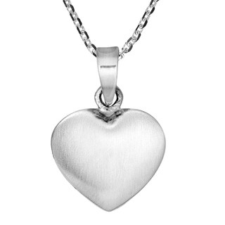 Sweet Puffy Heart Modern Sterling Silver Necklace (Thailand)