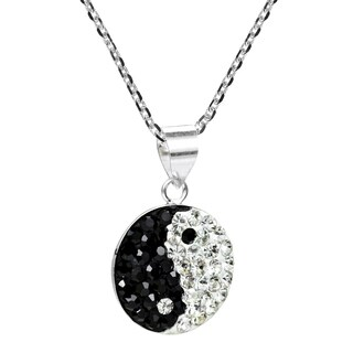 Handmade Sparkle Balance 12mm Yin Yang Crystal Sterling Silver Necklace (Thailand)