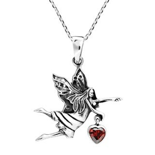 Spirited Fairy Holding Heart Cubic Zirconia Sterling Silver Necklace (Thailand)