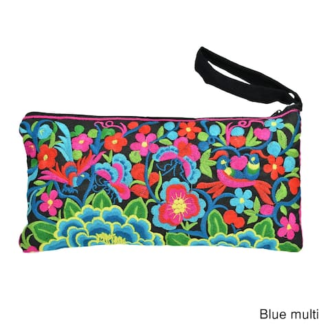 Boho Chic Emergence Lotus Floral Embroidered Clutch Wristlet Bag (Thailand)