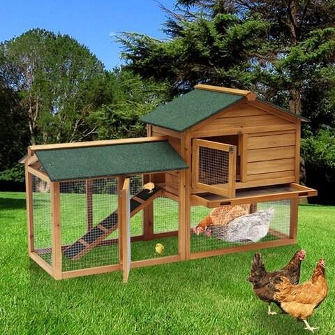 """Lovupet 58"""" Deluxe Wooden Chicken Coop Backyard Nest Box Pet Cage Rabbit Hen Hutch 0305"""