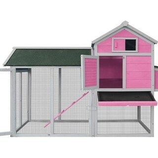 Lovupet Deluxe Wooden Chicken Rabbit Poultry Coop Hen House Pet Cage Backyard 0310 Pink