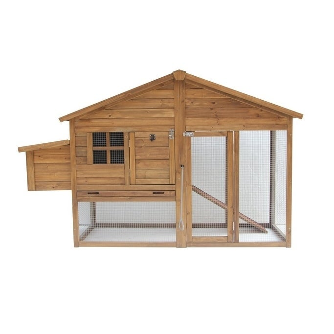 "Lovupet 74"" Wooden Chicken Coop Backyard Nest Box Hen Hou..."