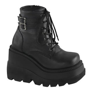Demonia SHAKER-52 Women Buckle Strap Stacked Wedge Platform Lace Up Ankle Bootie