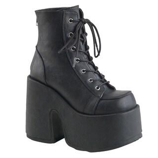 DEMONIA CAMEL-203 Women's Lace-Up Back Zipper Platform Ankle Boots