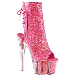 Pleaser ADORE-1018G Women Glitter Platform Open Toe/Heel Lace-Up Back Ankle Boot (Option: Pink)