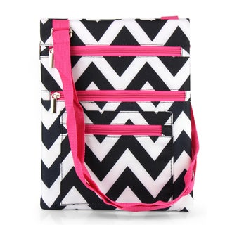 Zodaca Black/ White Chevron Pink Trim Lightweight Padded Shoulder Cross Body Bag Messenger Travel Camping Zipper Bag