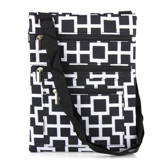 Zodaca Black/ White Geometric Lightweight Padded Shoulder Cross Body Bag Messenger Travel Camping Zipper Bag