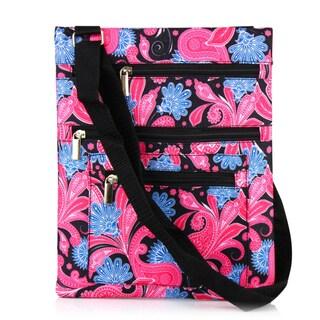 Zodaca Pink Paisley Lightweight Padded Shoulder Cross Body Bag Messenger Travel Camping Zipper Bag