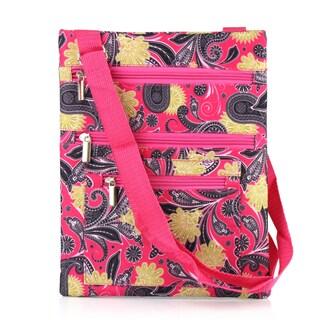 Zodaca Pink Yellow Paisley Lightweight Padded Shoulder Cross Body Bag Messenger Travel Camping Zipper Bag