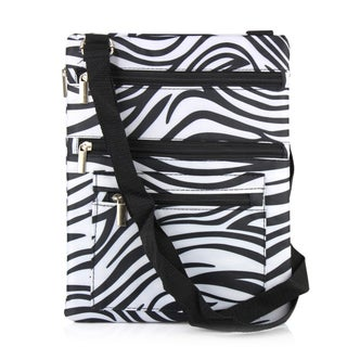 Zodaca Zebra Lightweight Padded Shoulder Cross Body Bag Messenger Travel Camping Zipper Bag