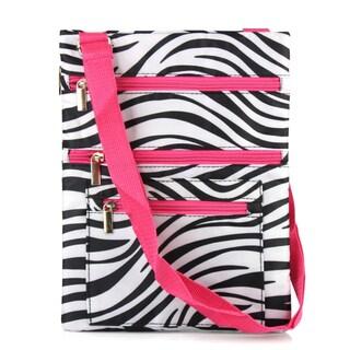 Zodaca Zebra Pink Trim Lightweight Padded Shoulder Cross Body Bag Messenger Travel Camping Zipper Bag